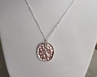 Hammered Silver Tag Necklace, boho jewelry