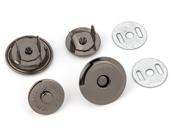 """10pcs UFO Magnetic Purse Snaps 25mm (1"""") - Black Nickel - (MAGNET SNAP Mag-188) - Free Shipping"""