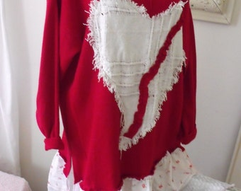 Plus Size Red Sweater Dress/Tunic with Fringey Heart, Rose Print and Lace Skirt