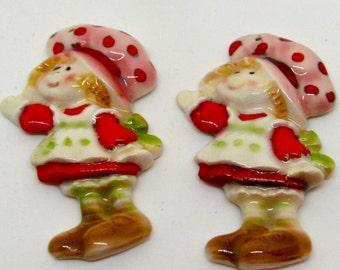 Two Strawberry Shortcake Pendants