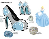 CINDERELLA | DISNEY PRINCESS | Glitter, Crystal Rhinestones, and Pearls | Design for Heels | Great for Cosplay
