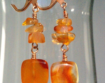 Orange Agate Earrings, Orange and Brown Earrings, Copper Earrings, Rustic Everyday Earrings, Pretty, Pretty Orange Jewelry, Gift for Her