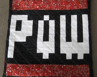 POW Quilted Pillow Cover - red bubbles BG - free USA shipping