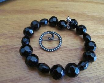 Black glass jet bracelet plus