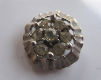 Vintage Button - 1 beautiful unique design large, rhinestone embellished, antique silver finish metal (lot aug 94)