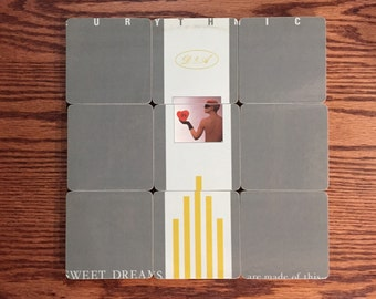 The Eurythmics recycled Sweet Dreams album cover wood coasters with warped record bowl
