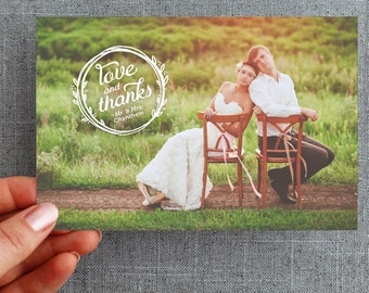 "50+ Wedding Thank you Postcard, with photo, brush script, natural bohemian wreath ""Bellamina Style"""