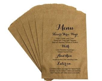 Rustic Wedding Menu Favor Bags - Vintage French Country Rustic Wedding Scripted Menu Favor Bags Treat Bags Kraft Bags
