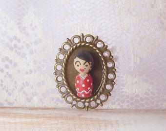Flamenco girl dancer fashion wearable red Brooch Hand painted ooak wooden art doll Fashion Jewelry - white dotty