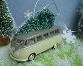 VW 1958 Microbus Van car with Christmas tree ornament