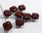 Red Poppy Jasper  Square Puffed Smooth Gemstone Beads....8mm....8 Beads