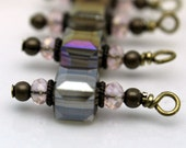Smokey Topaz AB Faceted Square Cube and Pink Crystal Bead Earring Dangle Charm Set