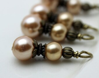 Vintage Style Golden Pearl and Brass Bead Dangle Drop Charm Set