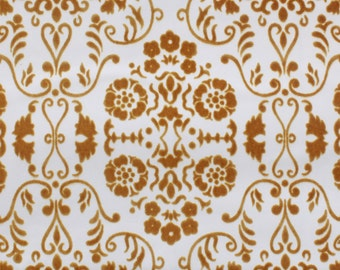 1970's Retro Vintage Wallpaper Gold-Brown Flocked Design on White Contact Paper Peel & Stick
