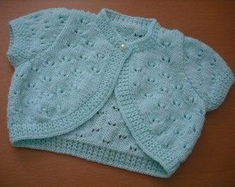 Pretty Pattern Short Sleeve Baby Girl Bolero in Mint Green - Handknitted Babywear