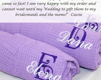 Monogrammed Robe Bridesmaid waffle weave kimono style robe monogrammed embroidered with intial & name