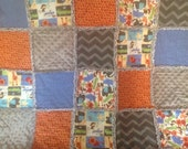 Baby Rag Quilt with Jungle Animals and Chevron