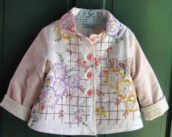 Size 5 Little Girl Jacket Vintage Embroidered Coat