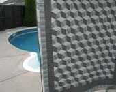 Custom Classic Tumbling Blocks in Black, White and Grey ** ON HOLD  For Purchase Only by Iremches