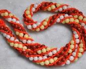 Art Deco Glass Bead Torsade Necklace