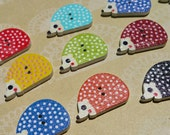 "Wood Hedgehog Buttons - Wooden Painted Hedge Hog Button - Bulk Sewing Buttons - 1"" - 12 Buttons"