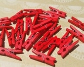 "Wood Clothespins - Mini Red Wooden Clothes Pins - 1"" - 25 Pins - Red"