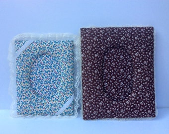 VTG Cloth Picture Frames // Set of 2 // Handmade // DIY // Floral // Lace // Photo Frame