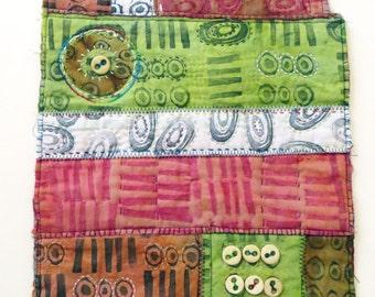 Binary Code ~ textile arts wall hanging