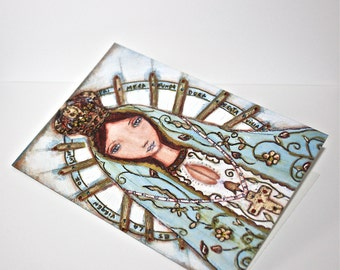 Our Lady of Lujan - Greeting Card 5 x 7 inches - Folk Art By FLOR LARIOS