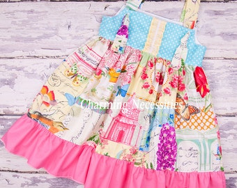 Toddler Girl Clothes, Girls Dress, Knot Dress Spring Summer in Menagerie by Charming Necessities Toddler Girl