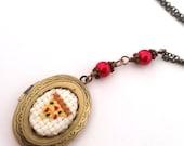 Pizza Lovers Cross stitch Locket necklace- xstitch fiber art wearable art  crossstitch Food Kitsch TMNT Yummy