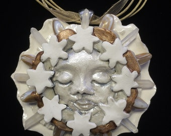 Kabbalations White Moon and Stars Goddess Faerie with Quartz Crystal Rays of Light and Natural Shell Gemstones Pendant