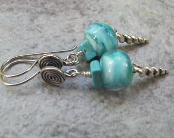 TURQUOISE OCEAN/lampwork swirls of white, turquoise, aqua/real turquoise squares/sterling silver earwires/shell dangle