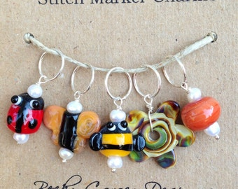 Stitch Marker Charms--Bugs in the Garden Set of 5
