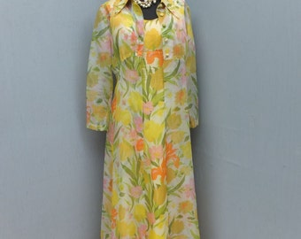 Vintage Maxi, 1970s Yellow Floral Chiffon Maxi Dress w/Matching Coat, 2 pc Set, Long Flowing Dress