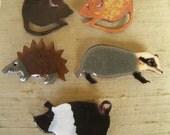 Vintage Handmade Small Ceramic Animal Pins