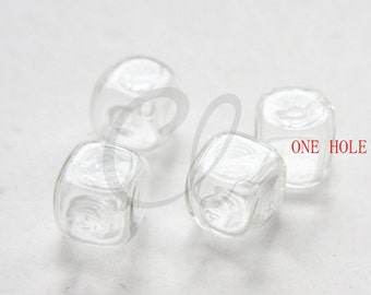 6pcs Hand Blown Hollow Glass Beads-Cut Square Clear - ONE HOLE - CENTER 15mm (60H2)