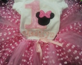 Minnie Mouse First Birthday Outfit with Onesie and tutu