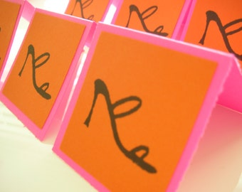 6 Shoe Mini Cards - Fashion Cards - Enclosures - Home and Living - Paper Goods - Stationery and Party - Lunchbox Notes - pink and orange