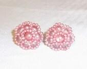 1950s Vintage Pink Beaded Cluster Earrings Screw Back Japan