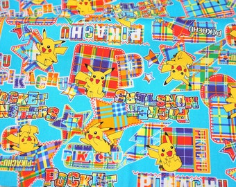 Pokemon licensed fabric pikachu 19.6 inch by 42 inch or 50 cm by 106 cm Half meter LAST PIECE Printed in Japan ©nintendo ©pokemon