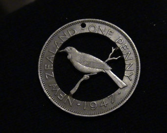 New Zealand - cut coin pendant - Tui Bird on Branch - 1947
