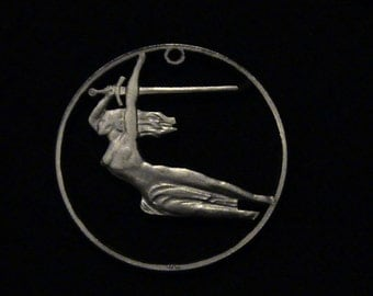 Poland 1965 - cut coin pendant - w/ Nike of Warsaw with Sword, for the 700th anniversary of Warsaw