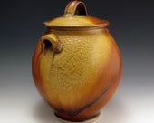 JAR stoneware, handmade Red and Gold Sunburst  3 GALLON