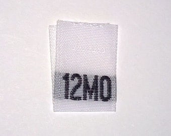 Size 12 mo Month (Twelve Month) Woven Clothing Size Tags (Package of 100)