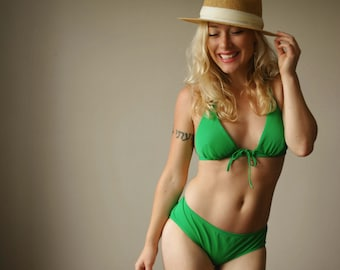 Deadstock, 1970s Tropical Lime Bikini~Size Extra Small to Large