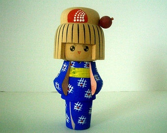 Vintage Kokeshi Doll with Blue Dress