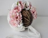 Garden Bonnet, Knit Baby Bonnet, Baby Photo Prop, Newborn Photo Prop, Newborn Baby Girl Hat, Baby Hat, Knit Baby Hat, Rose bonnet