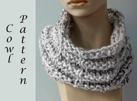 Knitting Easy Pattern Scarf Neck Warmer : Easy Chunky Cowl Knitting Pattern Instant Download Neck