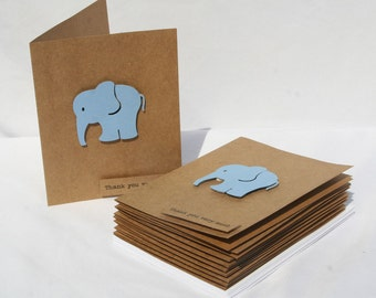 Baby Shower Thank You Cards - Baby Thank You Cards - Blue Elephants -Thank you Cards - Blue Thank You Cards - 50